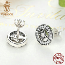 Real 925 Sterling Silver Vintage Allure Clear CZ Stud Earrings Compatible with VRC Women Wedding Jewelry Brincos S485