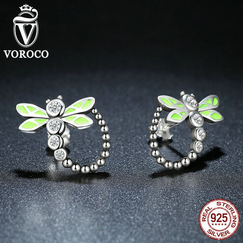Real 925 Sterling Silver Vivid Green Dragonfly Animal Stud Earrings For Women Fashion Anniversary Jewelry E018