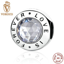 Romantic 925 Sterling Silver Forever Love Round Charms fit Original Pandora Women Bracelets  Fashion Jewelry PS342
