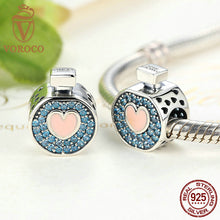 Romantic 925 Sterling Silver Soft Pink Heart Blue Crystals Perfume Bottle Charms Fit Pandora Charm Bracelets Jewelry C094