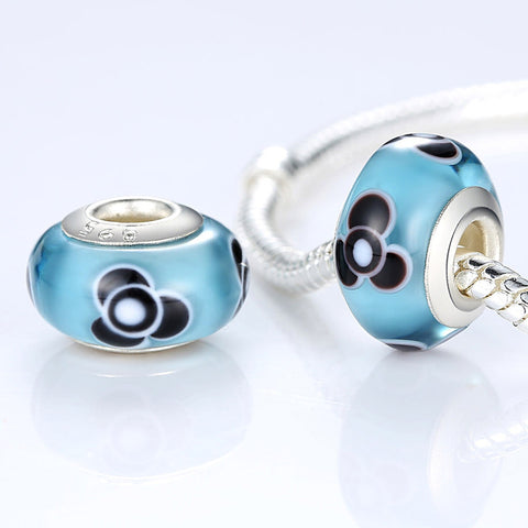 Silver Plated Blue Flower Murano Glass Beads Fit Pandora Bracelet & Necklace Authentic Jewelry Makings A6314