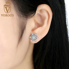 Silver Plated & White AAA Zircon Stud Earrings Women Fashion Earrings Compatible with VRC Jewelry Femme Brincos A4103