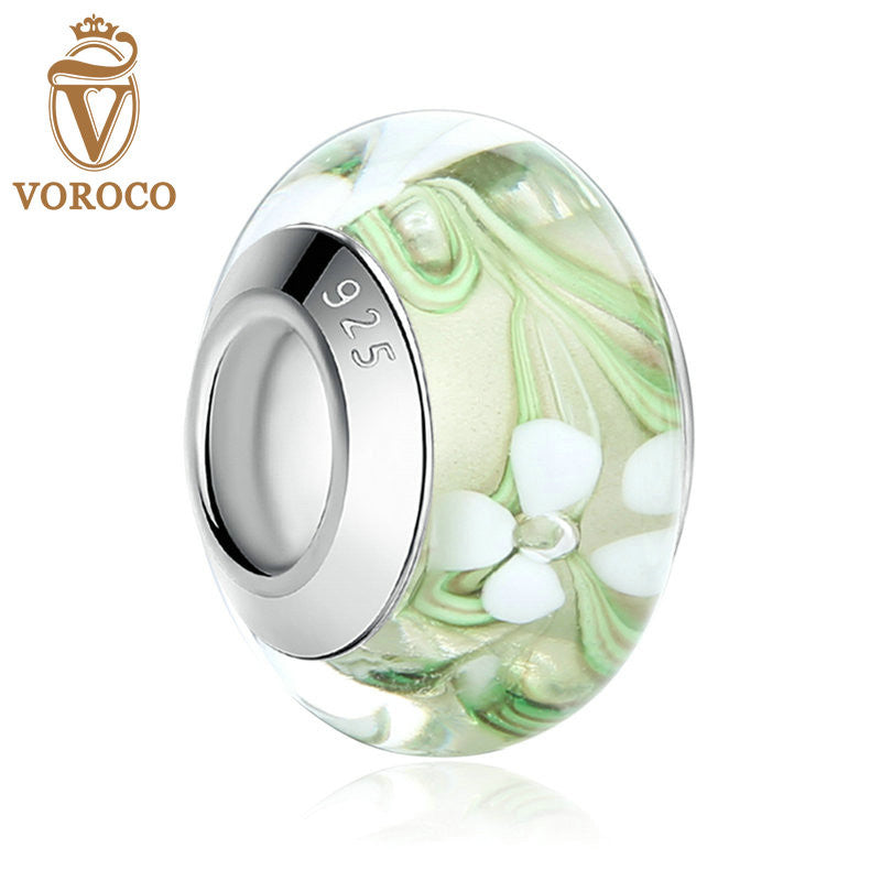 Silver Plated White Flower Green European Murano Glass Beads fit Pandora Bracelets Women Fashion Jewelry Dropship A6372