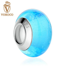 Blue Luminous European Murano Glass Beads fit Pandora Bracelet Women Fashion Beads & Jewelry Makings A6367