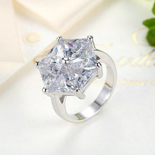 Femme Rings Platinum Plated White Big Stone Women Finger Ring Fashion Anniversary Jewelry Size 7-8 R216
