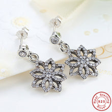 Vintage 925 Sterling Silver Lace Botanique, Clear CZ Floral Motif Drop Earrings Compatible with VRC Women Jewelry S432