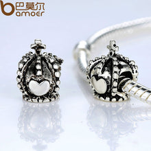Vintage Antique Silver Plated Heart Crown Charm Fit Bracelet Necklace Jewelry Accessories A5218
