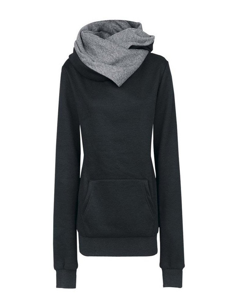 Casual Hoodies Lapel Hooded  Warm Sweatshirts Pullovers Solid Turn-down Collar   ClothingHG