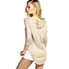 Elegant Lace Back Bow Knitted Patchwork Long-Sleeve T-shirt Sweet O-neck Character Irregular Tops Shirt