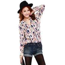 Geometric OL Career Button Down Shirt Long Sleeve Stand Collar Blouse Tops