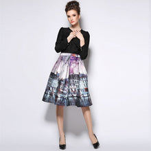Stretch High Waist Painting Skater Flared Pleated Long Maxi Skirt S-XXL
