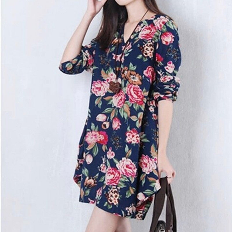 Vintage Floral Long Sleeve V-Neck Casual Dress Pregnant Maternity Linen Dresses M-XXL