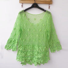 Crochet Hollow Floral Blouse 34 Sleeve Casual Loose Crop Tops