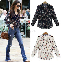 blusas femininas   Button Down Tops Chiffon Long Sleeve Casual Flower Blouse Shirt S-XXL