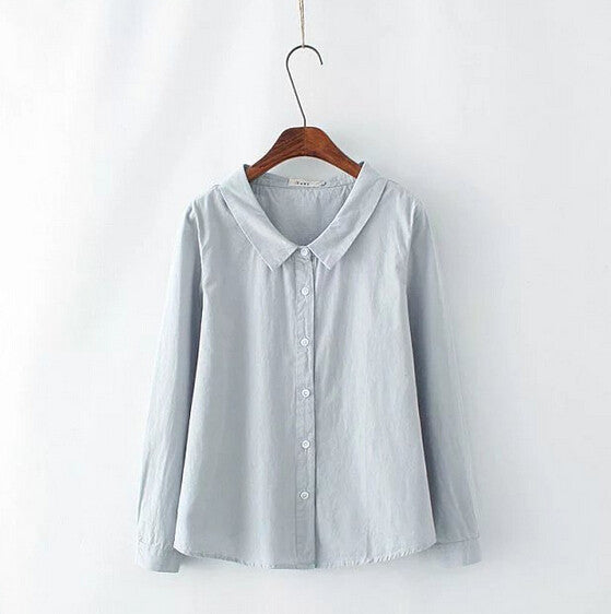 Brief Solid Peter Pan Collar Long Sleeve Cotton Blouse