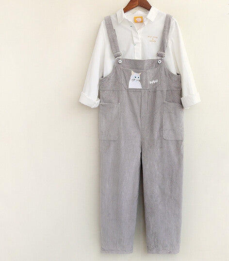 Mori Girl Kitty Corduroy Pocket Overalls Casual Ankle-length Pants
