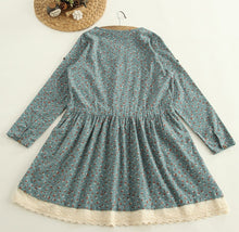 Mori Girl Floral Patchwork Lace Drawstring O-neck Long Sleeve Dress