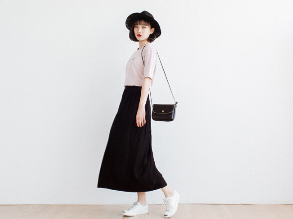 Mori Girl Preppy Style Long Casual Solid Color Pleated Skirt