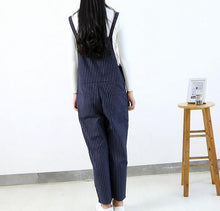 Vertical Stripes Loose Overalls Casual Student Pants Pocket Pants