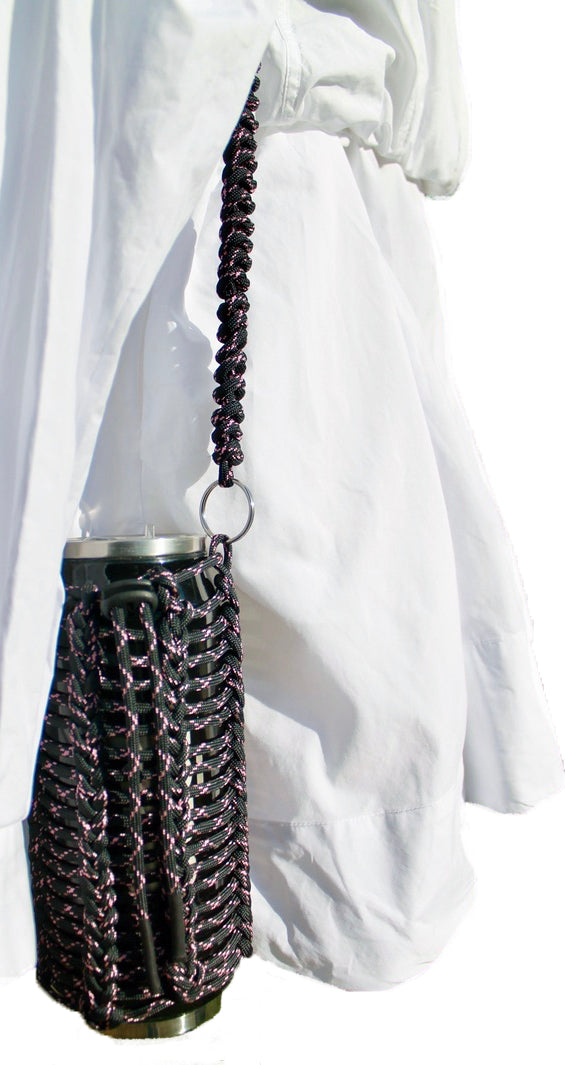 black with rose pink X ~ reusable drink bottle sling