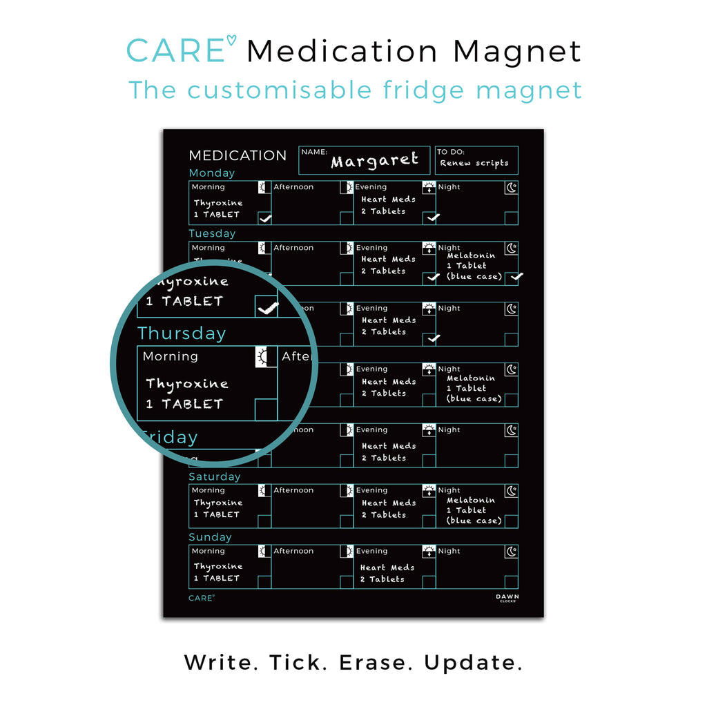 The Care Medication Magnet (30cm x 40cm) by Dawn Clocks™