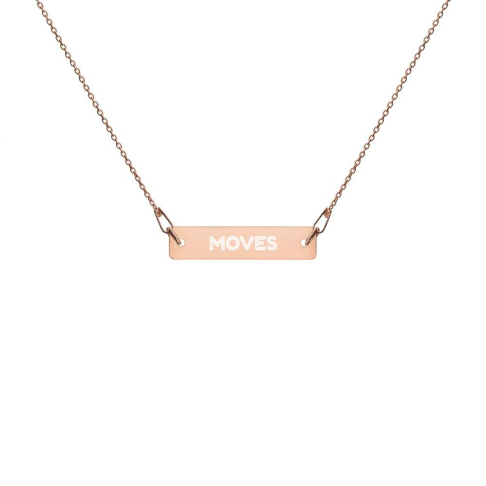 "JT Accessories 18K Rose Gold coating / 16"" Engraved Silver Bar Chain Necklace yoga SoCal yoga clothing for women LA yoga clothing for you yoga poses yoga joy time joy time"