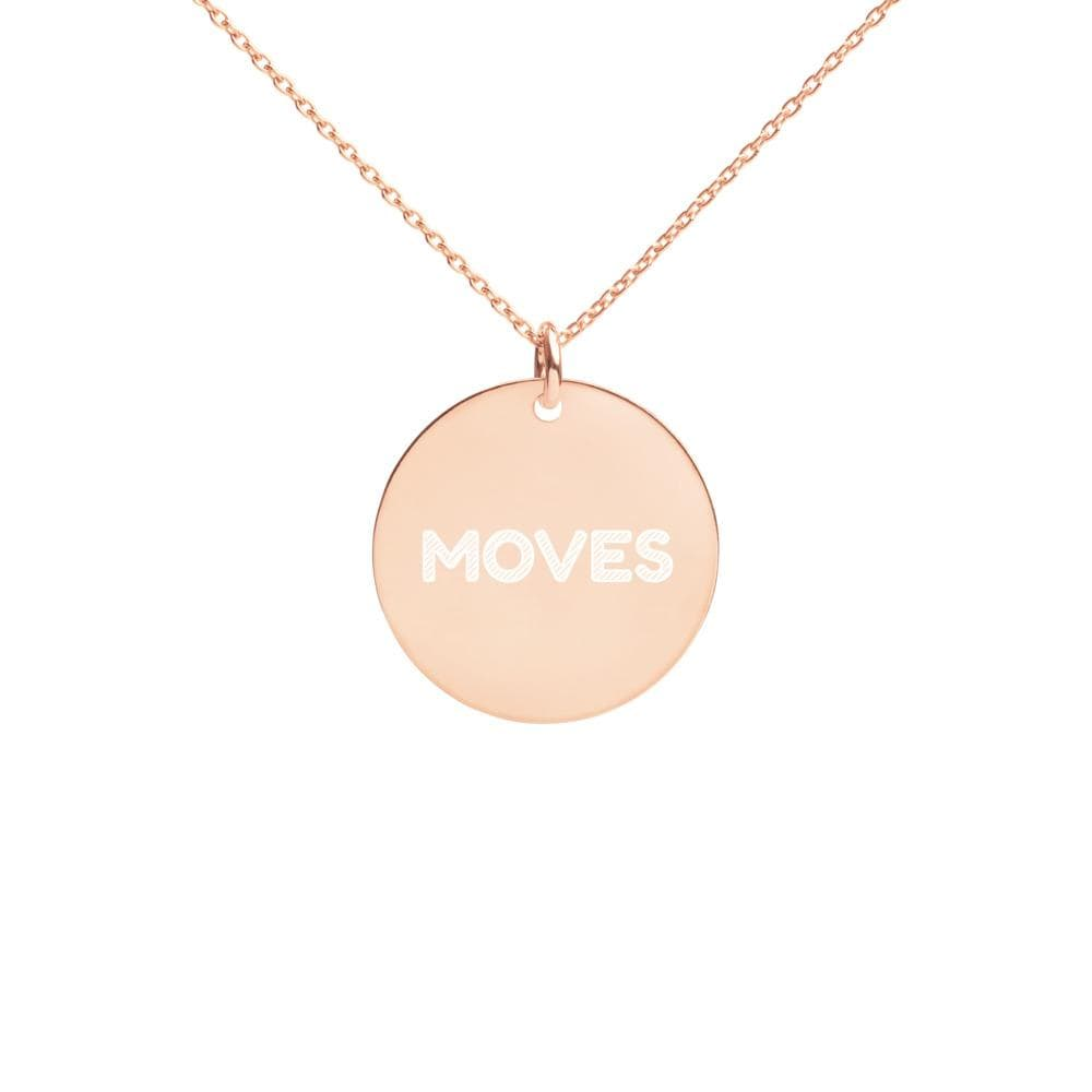 JT Accessories 18K Rose Gold coating Engraved Silver Disc Necklace yoga SoCal yoga clothing for women LA yoga clothing for you yoga poses yoga joy time joy time