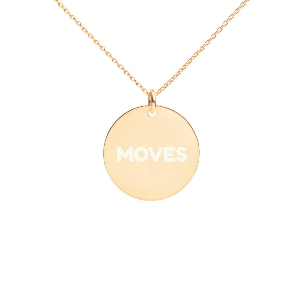 JT Accessories 24K Gold coating Engraved Silver Disc Necklace yoga SoCal yoga clothing for women LA yoga clothing for you yoga poses yoga joy time joy time