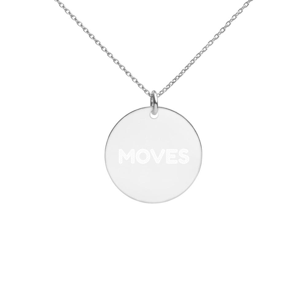 JT Accessories White Rhodium coating Engraved Silver Disc Necklace yoga SoCal yoga clothing for women LA yoga clothing for you yoga poses yoga joy time joy time