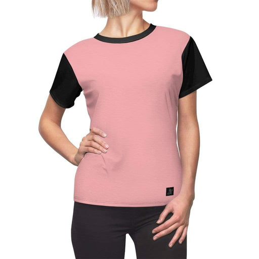JT Short Sleeve L / Black Seams / 4 oz. MOTION SHORT SLEEVE - MACARON PINK / BLACK yoga SoCal yoga clothing for women LA yoga clothing for you yoga poses yoga joy time joy time
