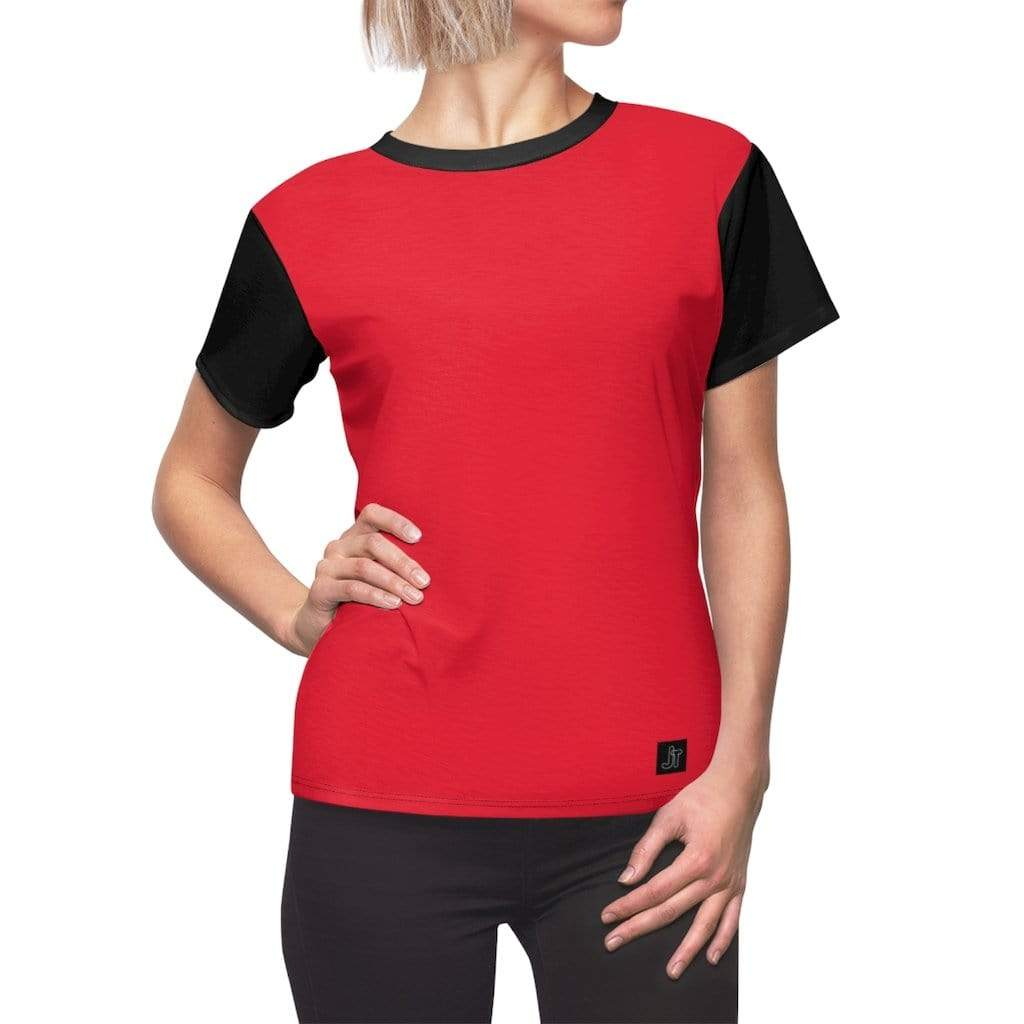 JT Short Sleeve L / Black Seams / 4 oz. MOTION SHORT SLEEVE - SCARLET / BLACK yoga SoCal yoga clothing for women LA yoga clothing for you yoga poses yoga joy time joy time