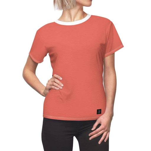 JT Short Sleeve L / White Seams / 4 oz. MOTION SHORT SLEEVE - STRAWBERRY yoga SoCal yoga clothing for women LA yoga clothing for you yoga poses yoga joy time joy time