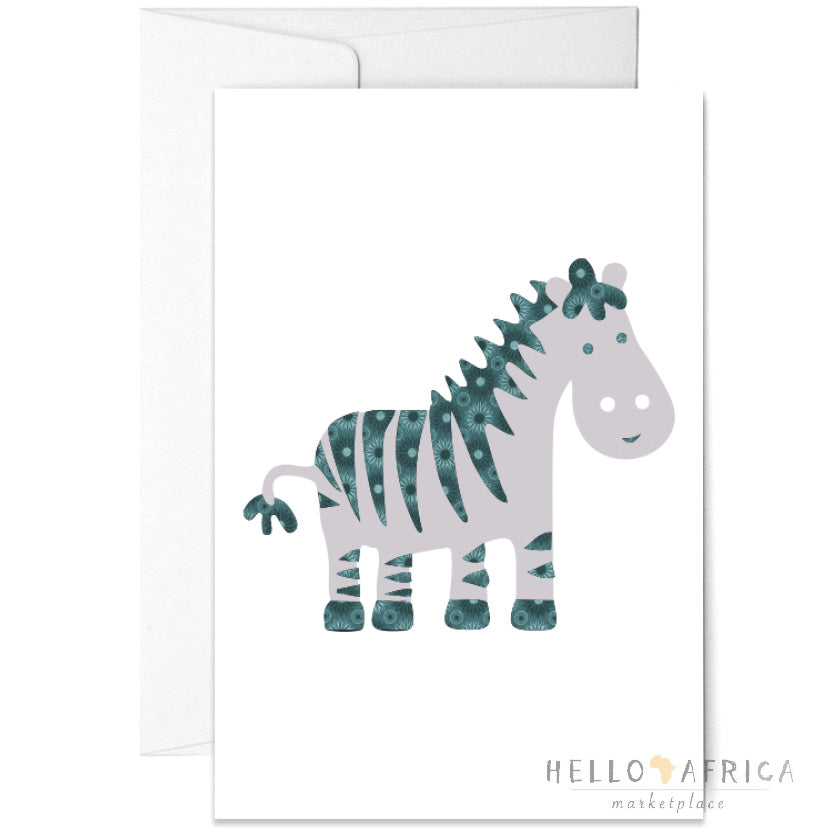 Blank Greeting Card : Zebra