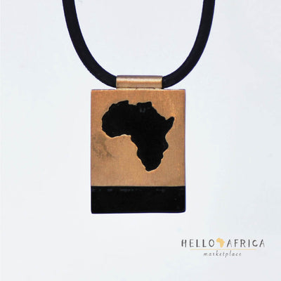 Square Perspex & Brass Africa Necklace