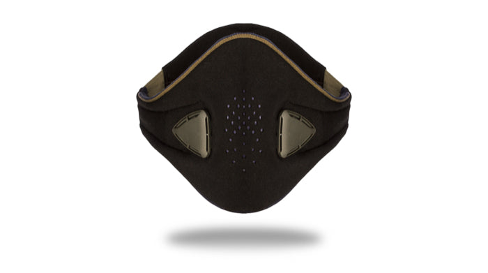 anti pollution mask akmon black khaki face view
