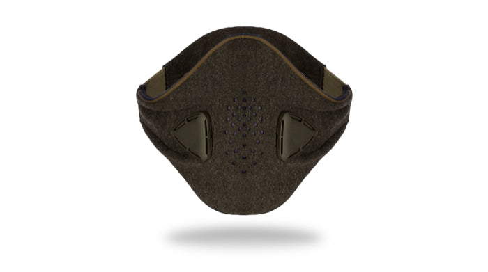 anti pollution mask akmon grey khaki face view
