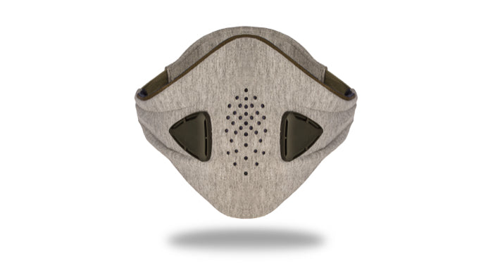 anti pollution mask akmon space grey khaki face view