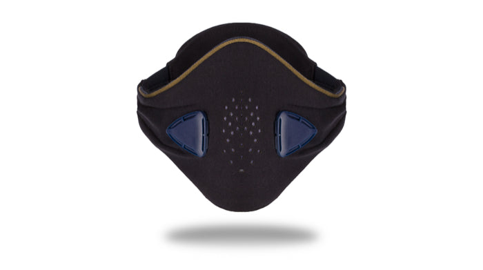 anti pollution mask akmon blue khaki face view