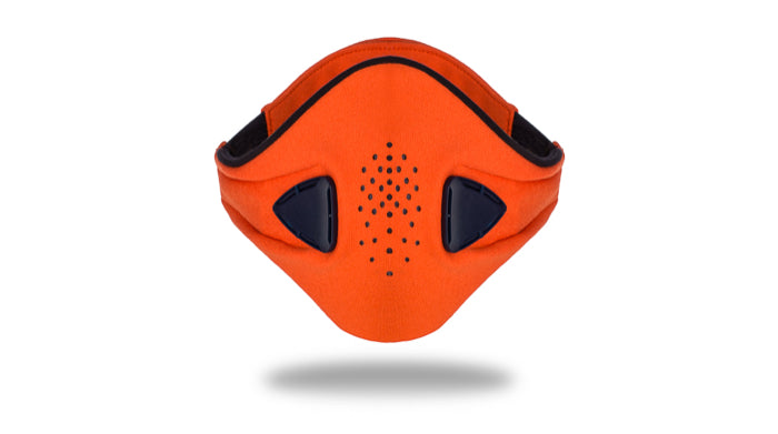 anti pollution mask akmon coral midnight blue face view