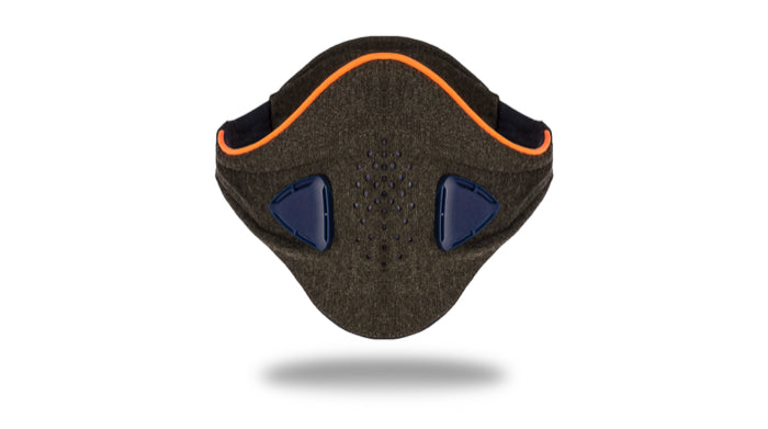 anti pollution mask akmon grey orange face view