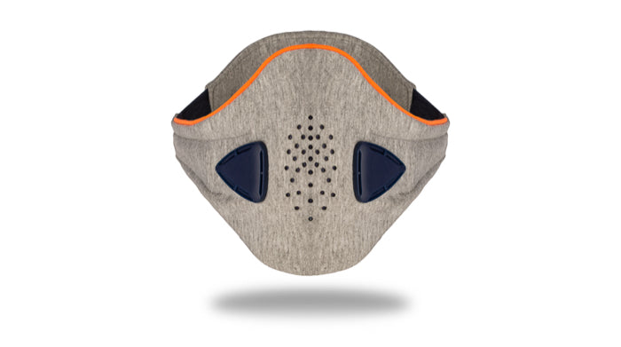 anti pollution mask akmon space grey orange face view