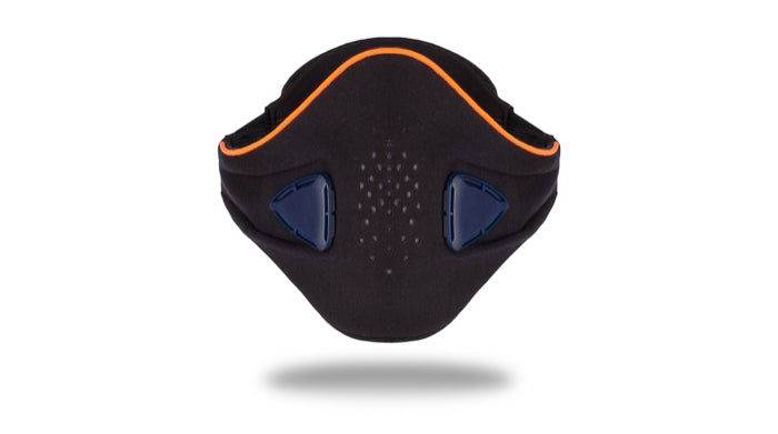 anti pollution mask akmon blue orange face view