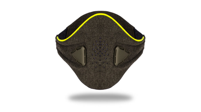 anti pollution mask akmon grey yellow face view