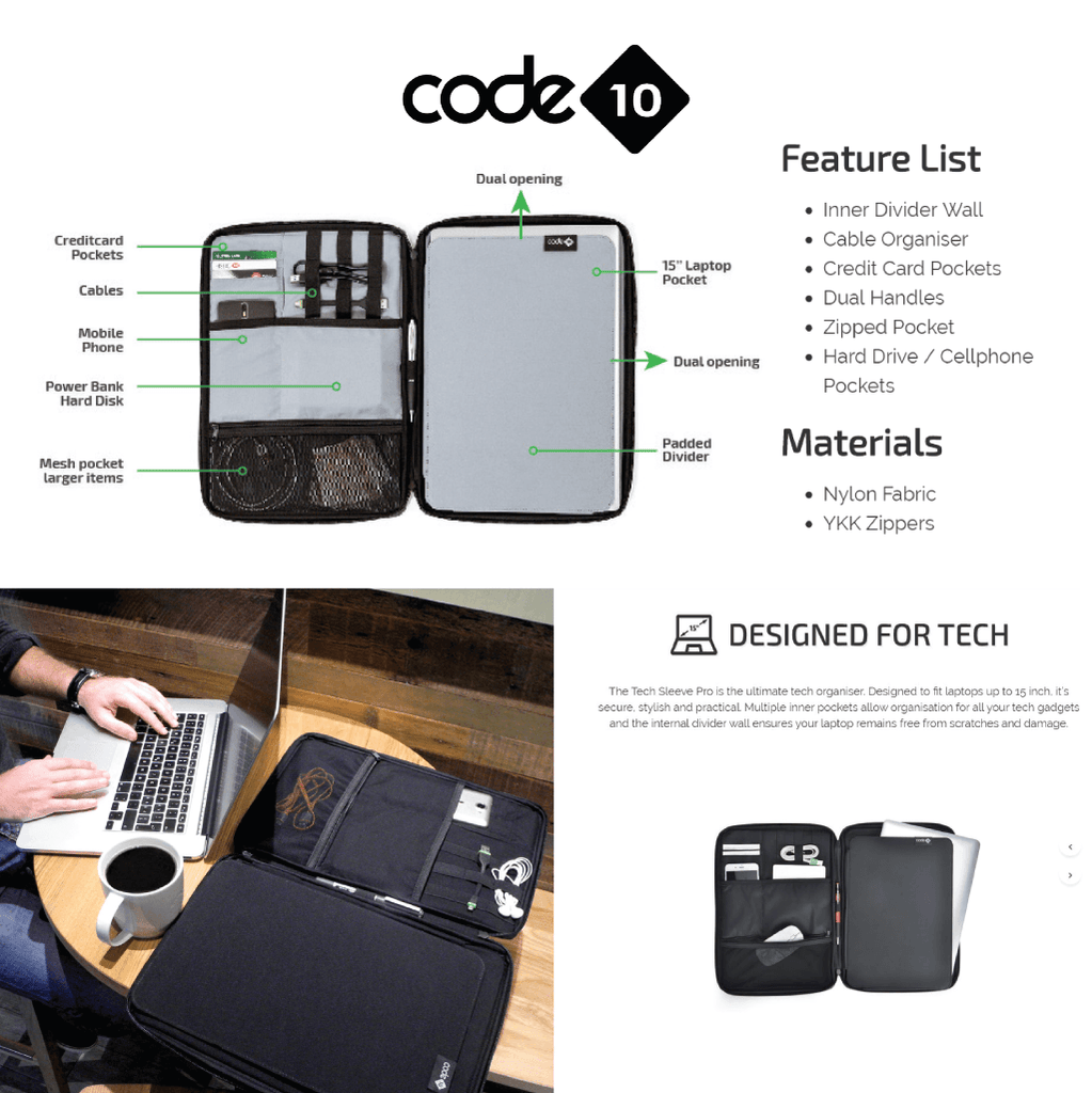 Code 10 - Tech Sleeve - Description and Product Specfications