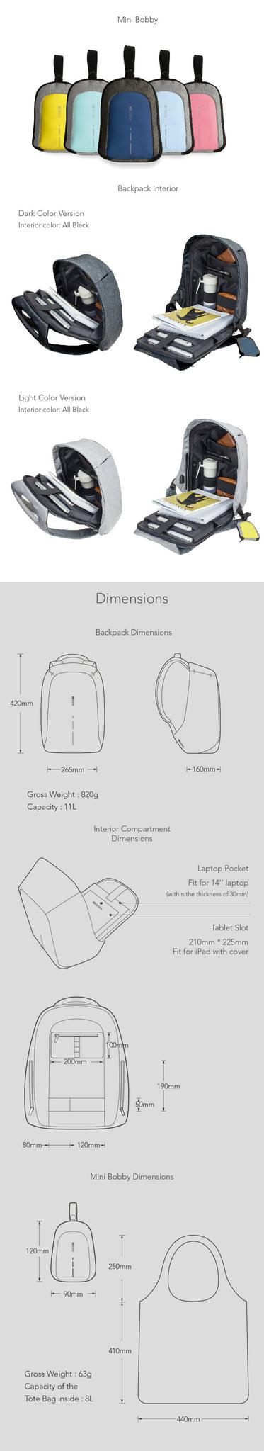 Bobby Compact Dimensions