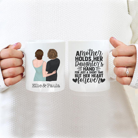 TheGreenDovecote - Mother And Daughter - Personalised Cup - A mother holds her daughters hand for a short time but her heart forever.