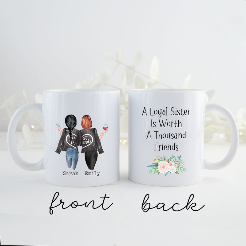 TheGreenDovecote _ Personalised Mug - Sister Gift. A Loyal Sister Is Worth A Thousand Friends