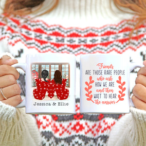 TheGreenDovecote - Best Friends - Two Girls - Christmas Mug - Friends are those rare people who ask how we are and then wait to hear the answers