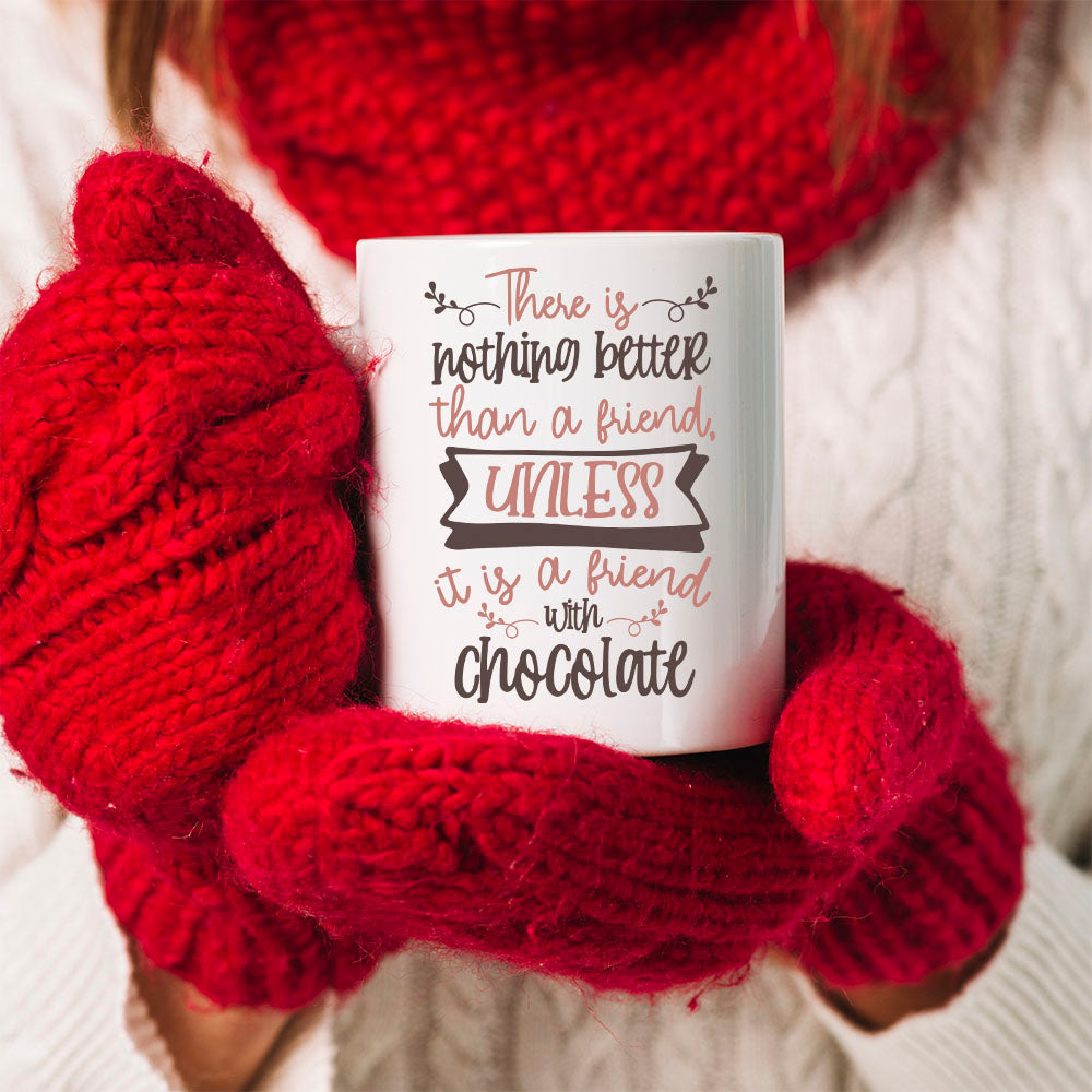 TheGreenDovecote Best Friends - Christmas Mug - There is nothing better than a friend, unless it is a friend with chocolate