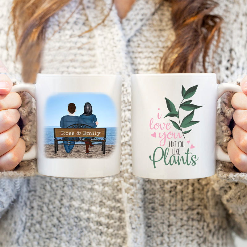 Couples Mug - Personalised Valentines Mug - I Love You Like You Like Plants